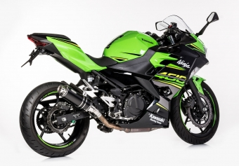 Hurric Supersport Supershort RVS Black Einddemper met E-keur Kawasaki Ninja 400 2018 2020