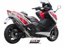 SC Project Oval RVS Black Compleet 2-1 Systeem Yamaha T-Max 530 2012 2016
