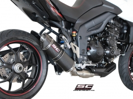 SC Project Oval Low Carbon met Carbon Endcap Triumph Tiger 1050 Sport 2013-2015